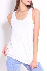 Sporty U Neck Racerback Solid Color Top For Women -