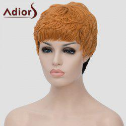 Trendy Short Black Golden Ombre Synthetic Shaggy Straight Adiors Hair Bump Wig For Women - OMBRE