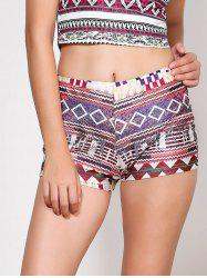 Ethnic Style Multicolored Printed Elastic Waist Shorts For Women - COLORMIX