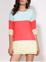 Casual Scoop Collar 3/4 Sleeve Color Block Women's Dress - RED
