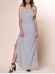 Bohemian Plunging Neckline Striped Backless Dress For Women - WHITE