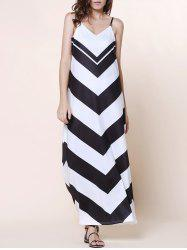 Boho Beach Slip Chevron Maxi Dress for Summer - BLACK