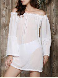 Off Shoulder Sheer Long Sleeve Shift Tunic Dress - WHITE