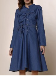 Stylish Stand-Up Collar Long Sleeve Button Design Denim Women's Dress