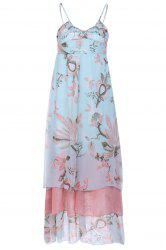 Bohemian Style Spaghetti Strap Lotus Printing High Waist Chiffon Women's Dress -