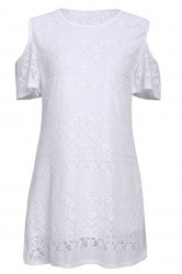 Stylish White Off The Shoulder Lace Women's Dress - WHITE
