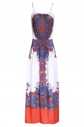 Sexy Spaghetti Strap Floral Print Floor-Length Sleeveless Dress For Women