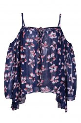 Chic Spaghetti Strap Batwing Sleeve Floral Print Women's Blouse
