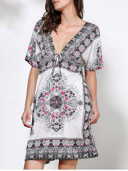 Bohemian Plunging Neck Floral Print Short Sleeve Dress For Women - WHITE