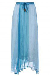 Color Block Flowy Long Skirt - NAVY BLUE