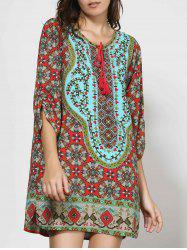 Vintage Style V-Neck 3/4 Sleeve Full Print Dress For Women - COLORMIX