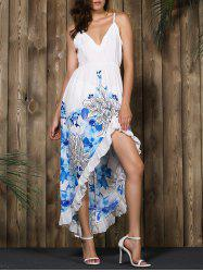 Alluring Spaghetti Strap Floral Print High Low Dress - WHITE