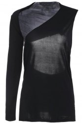 Novelty Black One-Piece Sleeve Backless Bodycon T-Shirt For Women -