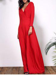 Plus Size Low Cut Prom Dress with Sleeves -