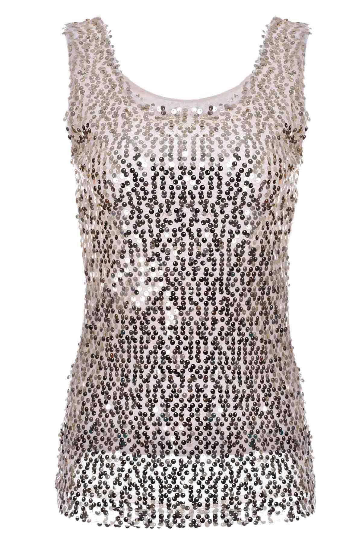 Chic Sleeveless Scoop Neck Sequins Embellished Women's Tank Top