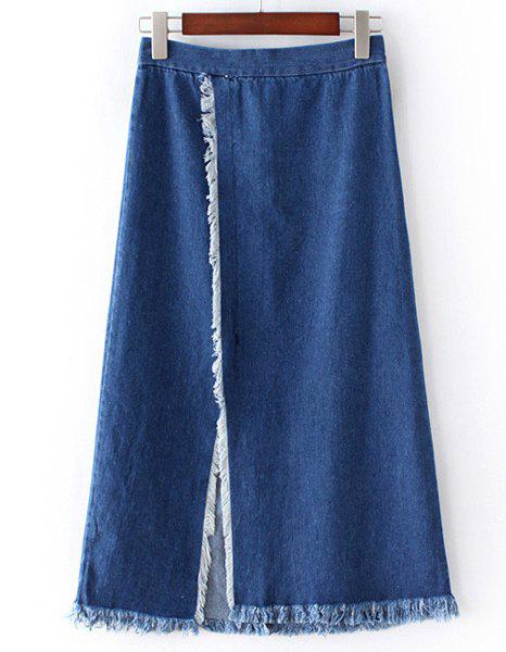 Store Chic Slit Fringed Denim Skirt For Women
