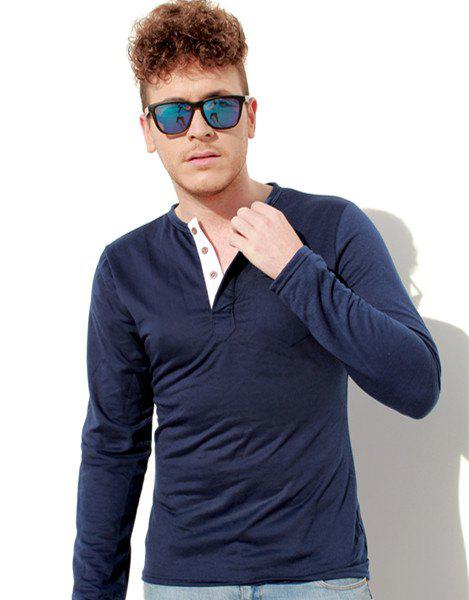 Shop Fashion Slimming Round Neck Contrast Color Placket Long Sleeve Polyester T-Shirt For Men