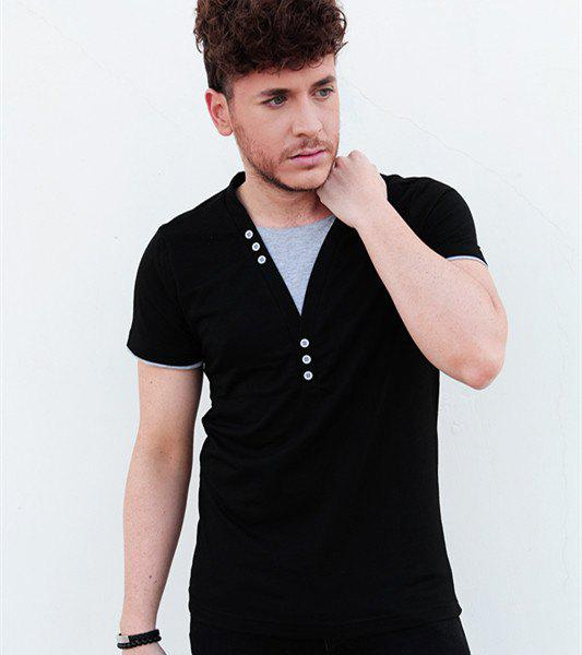 Chic Faux Twinset V-Neck Buttons Embellished Short Sleeve Slimming Men's T-Shirt