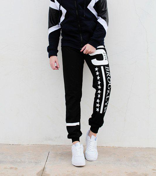 Shop Hot Sale Beam Feet Letters Number Star Print Loose Fit Men's Lace-Up Sweatpants