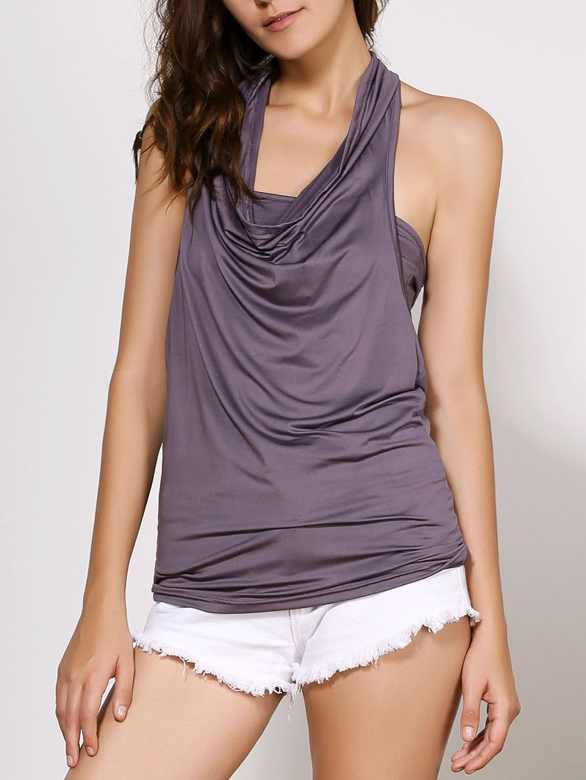 Cowl Neck Sleeveless Solid Color Backless T Shirt 132488420