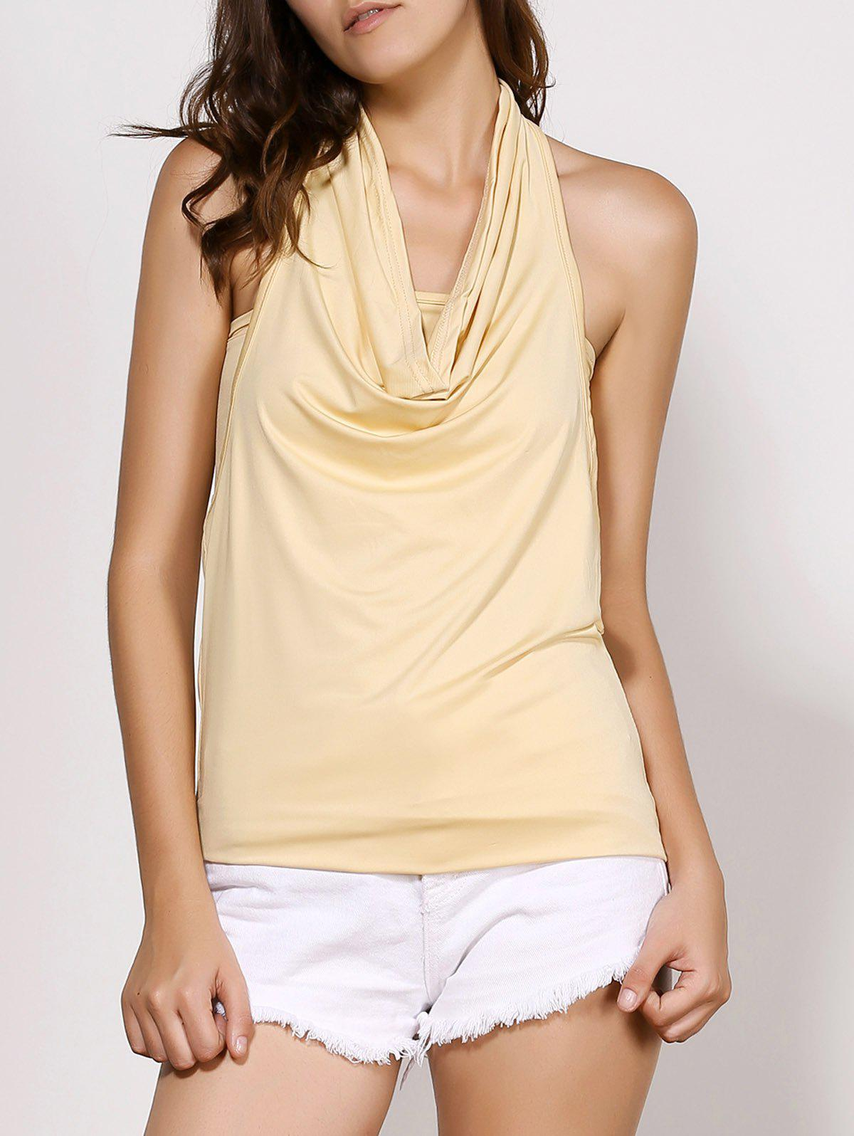 Fashion Cowl Neck Sleeveless Plain Backless T-Shirt