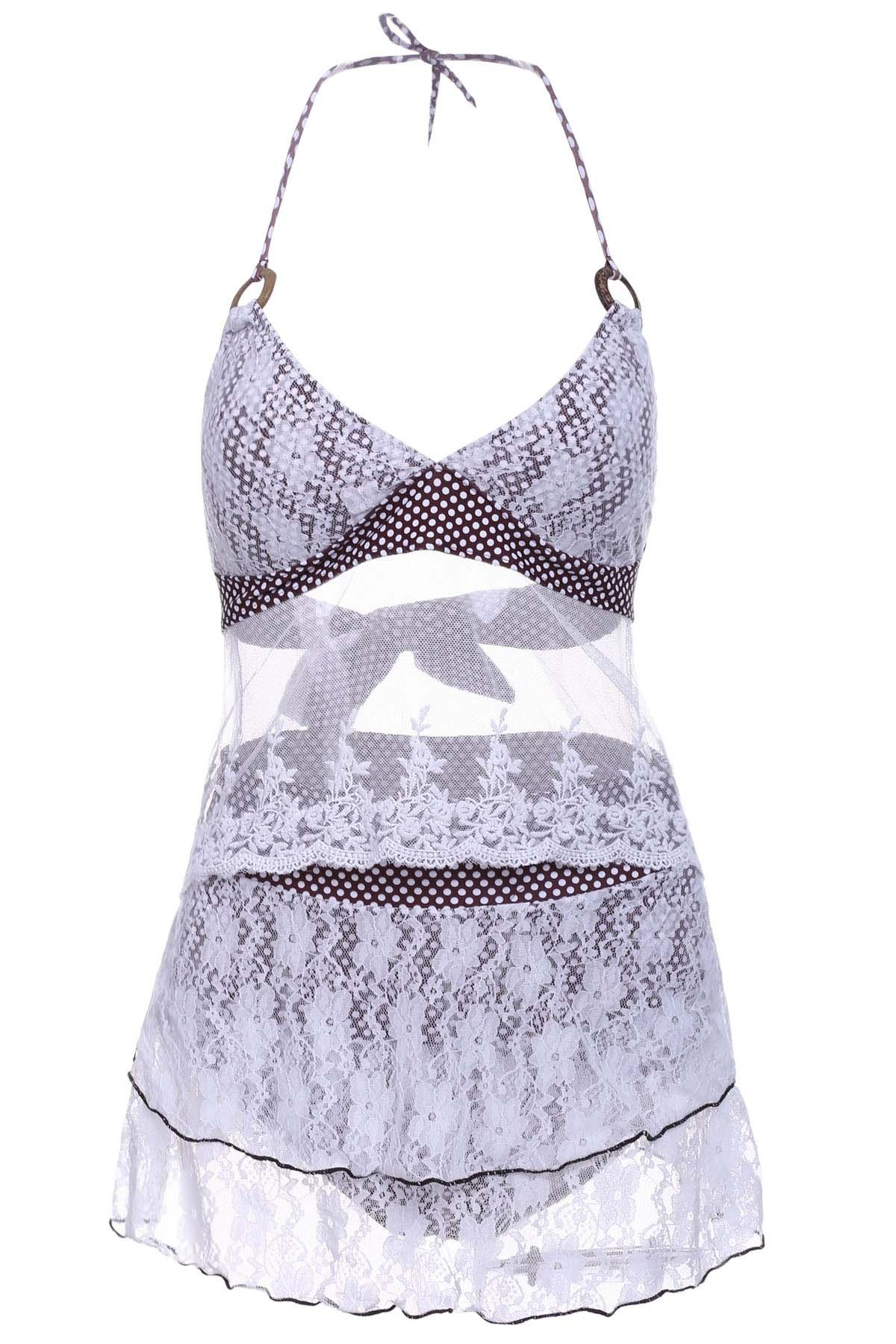 Chic Chic Halter Lace Splicing Three Piece Swimwear For Women