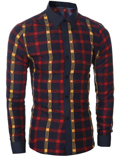 Classic Color Block Shirt Collar Long Sleeves Slimming Plaid Shirt For MenMEN<br><br>Size: L; Color: RED; Shirts Type: Casual Shirts; Material: Cotton,Polyester; Sleeve Length: Full; Collar: Turn-down Collar; Weight: 0.200kg; Package Contents: 1 x Shirt;