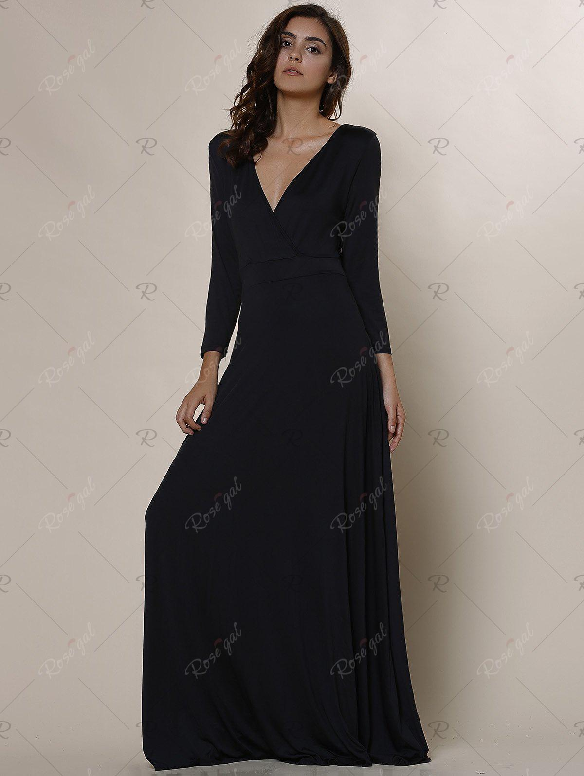 black xl plus size low cut prom dress with sleeves