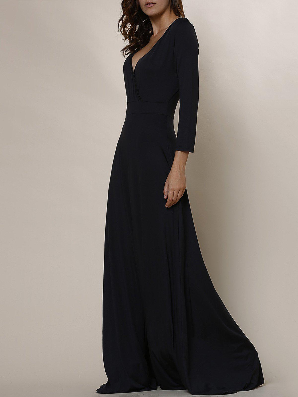 Online Plus Size Low Cut Prom Dress with Sleeves