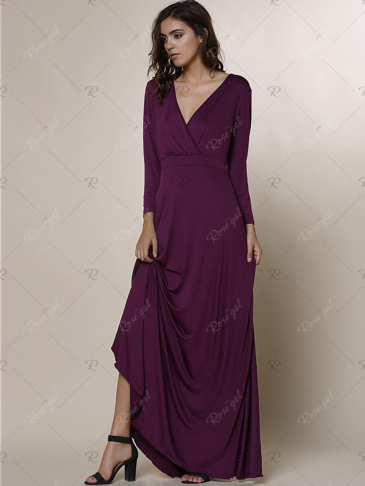 purple 2xl plus size low cut prom dress with sleeves