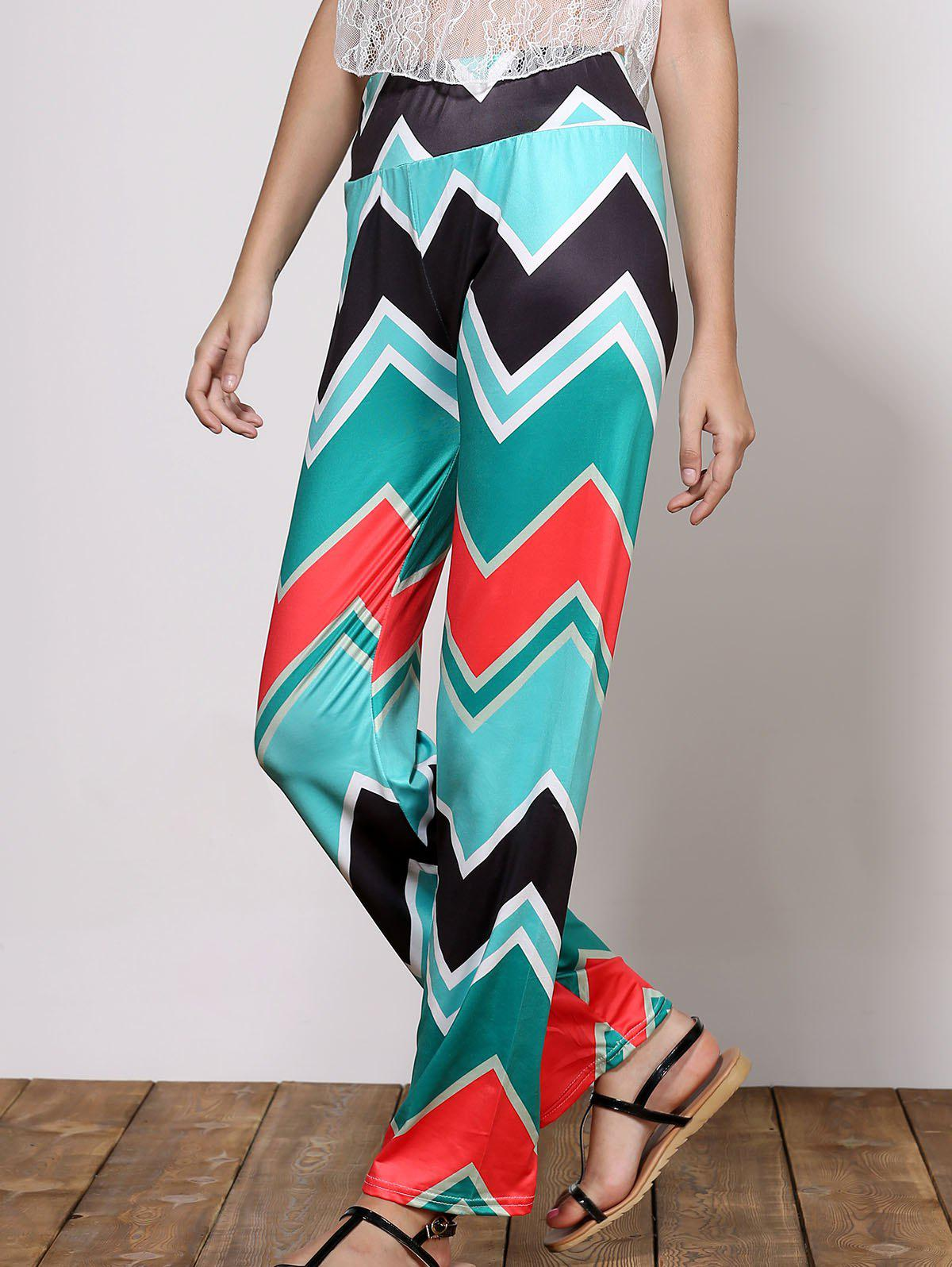 Buy Stylish Mid-Waisted Wave Print Loose-Fitting Women's Exumas Pants