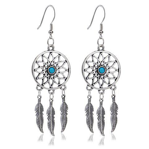Dream Catcher Turquoise Feather EarringsJEWELRY<br><br>Color: SILVER; Earring Type: Drop Earrings; Gender: For Women; Style: Trendy; Shape/Pattern: Feather; Length: 9.4CM; Weight: 0.040kg; Package Contents: 1 x Earring (Pair);