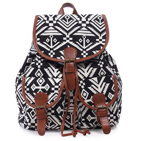 Outfits Casual Geometric Print and Buckle Design Satchel For Women