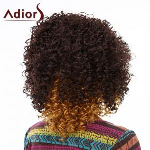 Trendy Medium Deep Brown Ombre Fluffy Afro Curly Synthetic Wig For Women - OMBRE