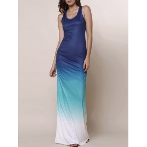 Scoop Neck Sleeveless Ombre Color Maxi Sundress