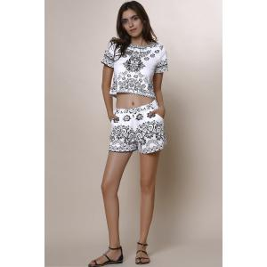 Stylish Round Neck Short Sleeve Crop Top + Porcelain Print High-Waisted Shorts Women's Twinset -