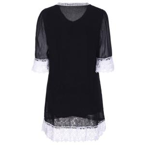 Casual Lace Insert Mini Shift Dress -