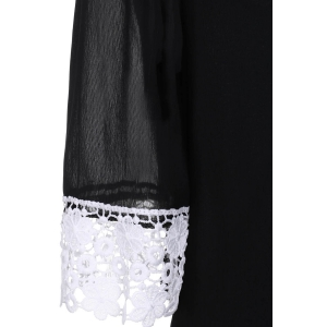 Casual Lace Insert Mini Shift Dress - BLACK L