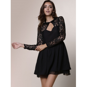 Keyhole Lace Panel Cocktail Night Out Dress - BLACK XL