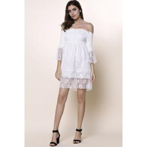 Off The Shoulder Lace Trim Short Dress - WHITE ONE SIZE(FIT SIZE XS TO M)