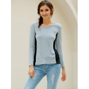 Casual Scoop Neck Long Sleeves T-Shirt For Women - GRAY L