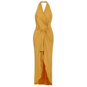 Sexy Halter Sleeveless Hollow Out High Low Hem Women's Dress -