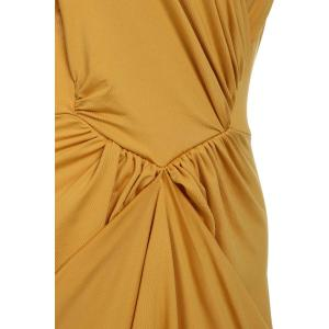 Sexy Halter Sleeveless Hollow Out High Low Hem Women's Dress - YELLOW ONE SIZE(FIT SIZE XS TO M)