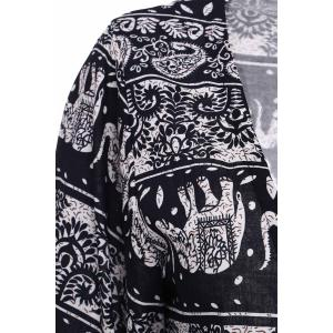 Stylish Colllarless Long Sleeve Ethnic Pattern Print Women' Blouse -