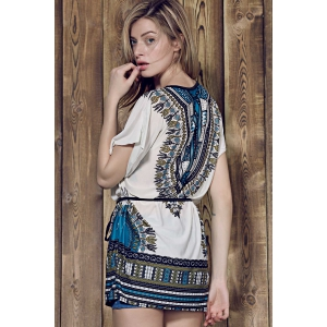 Vintage Style Round Collar Batwing Sleeve Loose-Fitting Ethnic Print Dress For Women - BLUE ONE SIZE(FIT SIZE XS TO M)
