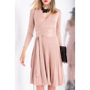V Neck Pleated Knit Jersey Long Sleeve Dress