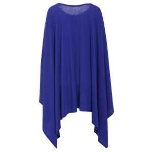 Stylish Scoop Neck Solid Color Asymmetrical Women's Dress - DEEP BLUE 2XL