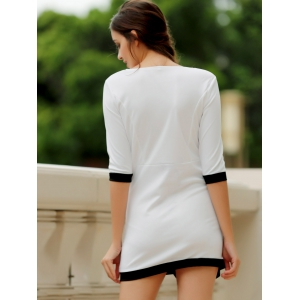 Simple Scoop Neck 1/2 Sleeve Color Block Bodycon Women's Dress -