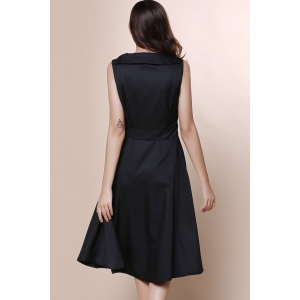 Vintage Turn-Down Collar manches solides robe de couleur bowknot embellies femmes -
