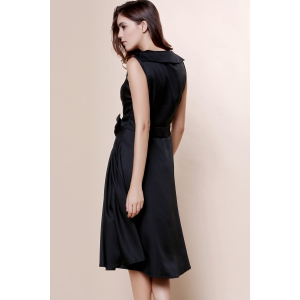 Vintage Turn-Down Collar Sleeveless Solid Color Bowknot Embellished Women's Dress -